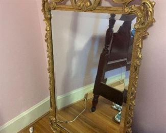 Vintage Crested Gilt Wood Mirror