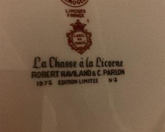 "CH FIELD HAVILAND LIMOGES 1972 LA CHASSE A LA LICORNE 1972 UNICORN 9 7/8"" PLATE"