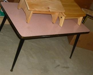 Neat pink retro table with boomerang top