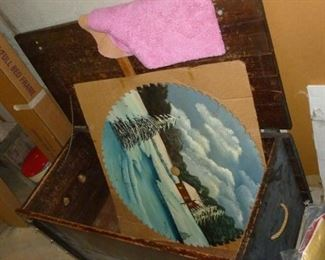 Painted Saw Blade & Chest