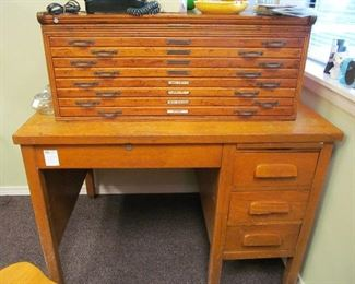 Antique Yawman & Erbe engineering document/map cabinet