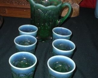 green opalescent Cherry pattern art glass water set