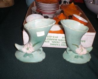 pair of Weller art pottery cornucopias