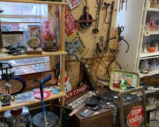 Vintage kettles, signs, pulleys, chest