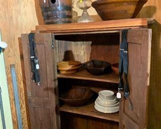 Corner cabinet, vintage barrel (been refinished), wood bowls, oil lamp
