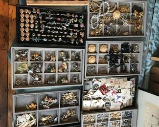 Cufflinks, rings, stick pins, more necklace and brooches.