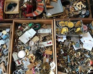 Key rings, tack pins, saint medals, charms