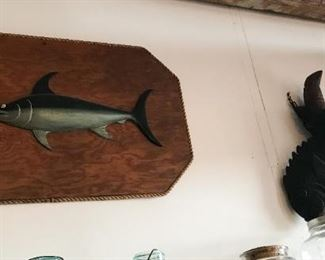 Carved fish board and antique Japanese hearth kettle counterweight fish carving