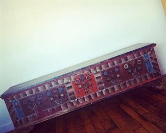 Handpainted antique blanket chest