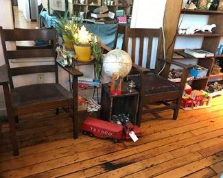 Mission oak chairs, vintage toys