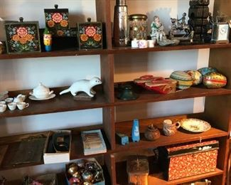 Painted pantry boxes, signed carved stoat sculpture, 1800s miniature ironstone dishes, mercury glass decanter, bronze humidor, bookends, Easter candy boxes, zori, shaving mug, tin, lunch box, lighting, and more.