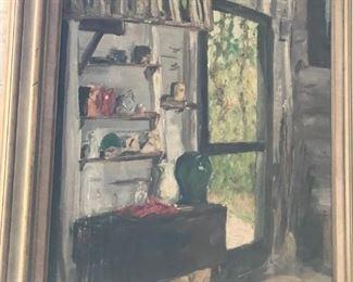 Oil painting of artist's studio by Martha's Vineyard artist.