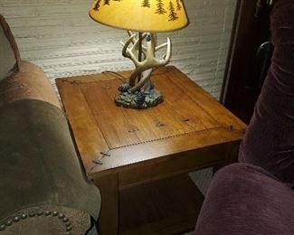 Side table, deer antler lamp (Each is part of a pair)