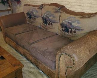 Horse themed sofa, cushions flip to show horses also $100