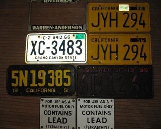 Vintage license and signs