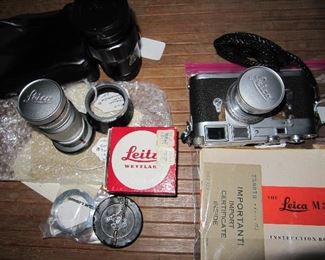 Leitz Leica cameras and lenses, some with import certificates