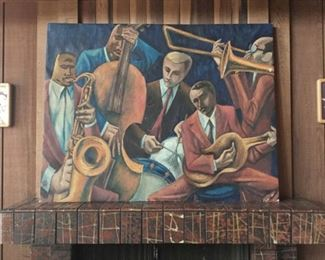 1960s Jazz Combo oil on canvas painting rescued from an old 70s Gaslamp San Diego jazz club.
