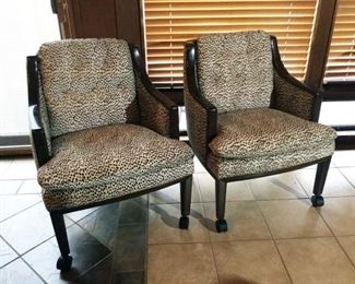 A pair of vintage leopard print calfskin leather arm chairs by Monteverdi Young, Los Angeles.