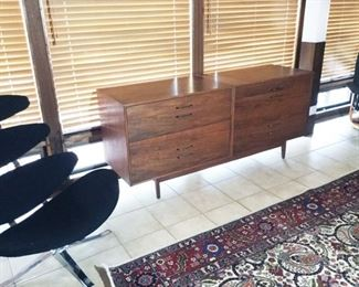 Uncommon Corona chair STILL AVAILABLE.                  SOLD Double wide walnut Risom cabinet.