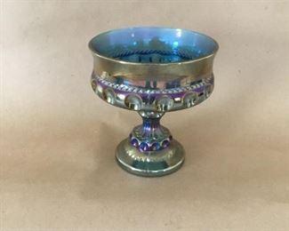 Carnival glass pedestal dish