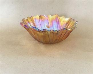 Carnival glass petal bowl