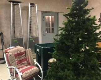 Christmas trees, rocking chair, patio heaters