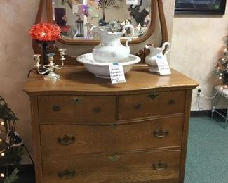Homer Lauglin chamber set, antique dresser, lamps, candlesticks