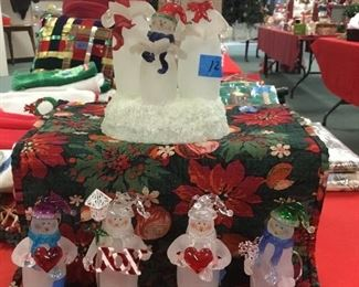 Frosted snowmen figurines