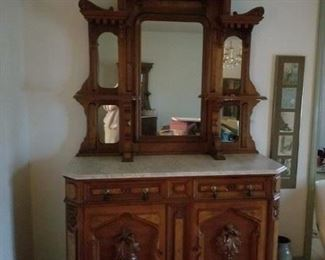 Gorgeous Victorian Marble China Hutch & Buffet!