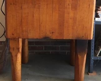 Antique Wood Block Table