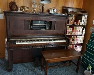 working player piano w/ approx. 300 rolls