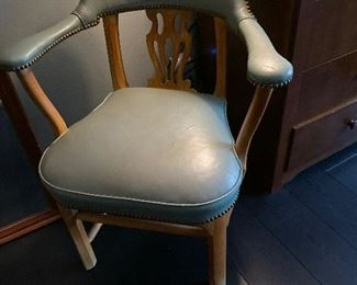 MCM light blue leather occasional chair