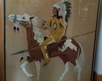 LARGE NATIVE AMERICAN ARTIST PAINTING