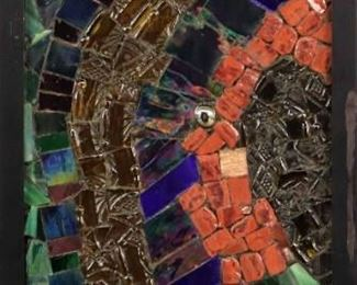 """Mosaic. Untitled glass mosaic assemblage on Cement board. Signed lower right, no visible date. Image measures 8 ½"""" x 19 ½"""" high, framed 10 """"x 21"""". Reference #K.56"""