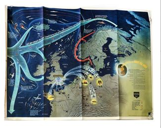 Lot 001 Rare 1944 Dated Navy Education Services Map of Northwestern Europe