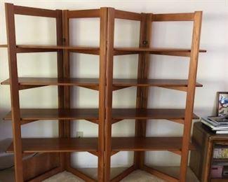 c.1950s 4 folding panel scaffold shelving unit.  Teakwood  Excellent condition.  $400.00