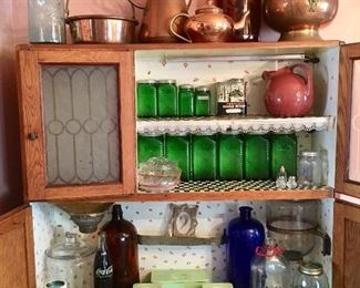 Ball Mason Canning Jars * Vintage & Antique Copper * Green Glass Hoosier Cannister Jars * Blue & Green Old Glass Jugs