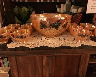 Peach Luster Vintage Punch Set that would be perfect for any holiday table!