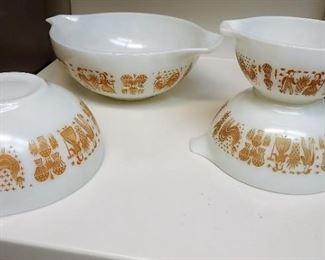 Orange Butterprint Cinderella Pyrex bowls