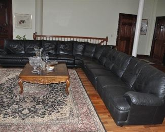 """Six piece black leather sectional! 11.5' long on one side x 13' on the other side x 33""""h x 32""""d"""