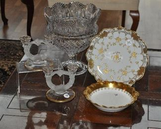 """Antique hand painted Japanese plate shown with a gorgeous Limoges, Old Abbey serving bowl, vintage pressed satin glass candlesticks and a large 12""""h vintage cut glass footed centerpiece bowl!"""