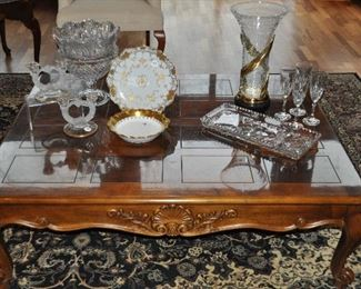 """Lovely large French Style walnut Henredon Coffee Table with carved detail throughout, 50"""" w x 40""""d x 16""""h"""