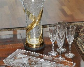 """Large 16"""" crackled glass and gold lacquer vase shown with a set of 4 vintage crystal flutes and a 17"""" vintage cut glass sandwich tray"""