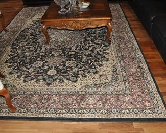 """Stunning Super Classic High Density black, cream and maroon area rug made in Turkey, 7' 9"""" x 10'4"""""""
