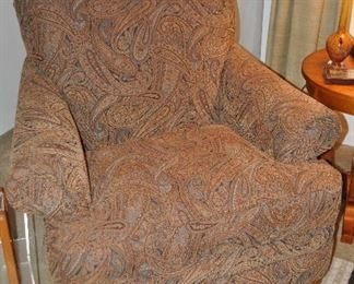 """Brown paisley occasional chair by Broyhill, 40.5""""w x 41""""d x 36""""h"""