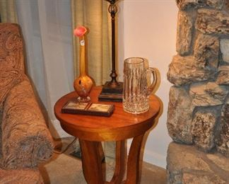 """Petite cherry side table (two available), 20"""" dia. X 24"""" h"""