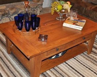 """Wonderful 2 drawer rustic cherry coffee table with lower display shelf; Attic Heirlooms Collection by Broyhill 50""""w x 32""""d x15""""h"""
