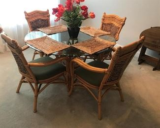 Wicker / Rattan Glass Top Table / 4 Chairs $ 320.00