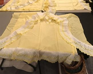 Curtains and Valance panels, Yellow with White eyelet trim
