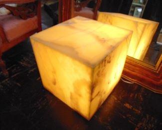 Large Contemporary Onyx Stone Backlit Pedestal Cube